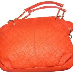 Orange Textured & Smooth Leather Gold Accents